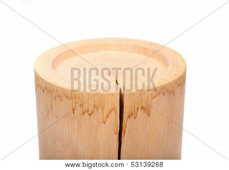 A cylindrical timber with a crack