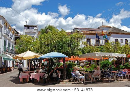 Pavement cafes, Marbella, Spain.