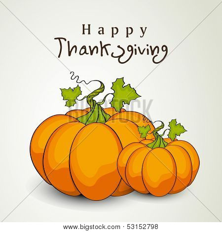 Happy Thanksgiving Day background with pumpkins, can be use as flyer, banner or poster.