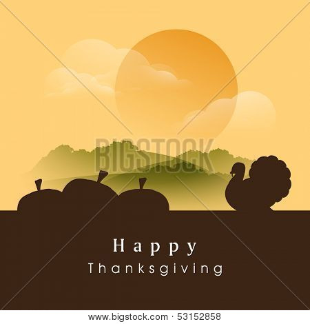 Happy Thanksgiving Day evening background with silhouette of pumpkins and turkey bird, can be use as flyer, banner or poster.
