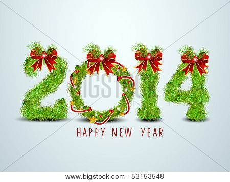 Happy New Year 2014 celebration background with decorated text, can be use as flyer, banner or poster.