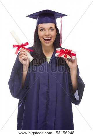 Happy Female Graduate with Diploma and Stack of Gift Wrapped Hundred Dollar Bills Isolated on a White Background.