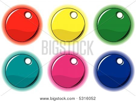 Set Of Colored Circle Labels For Your Design.