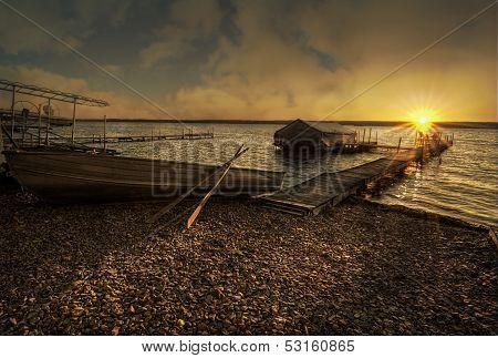Lake  Sunrise On The Dock