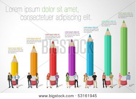 Template for advertising brochure with Teenager students in front of colored pencil chart