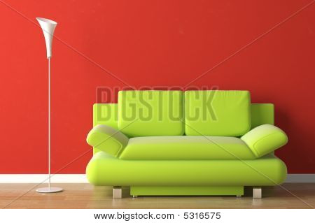 Interior Design Green Couch