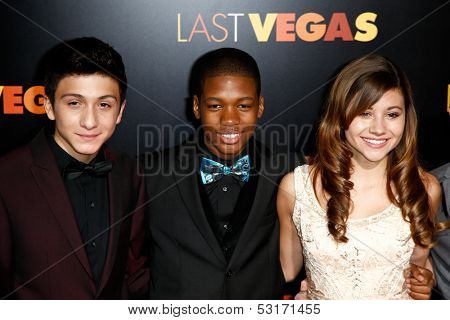 NEW YORK- OCT 29: Actress Olivia Struck (r) and cast members attend the premiere of 'Last Vegas' at the Ziegfeld Theatre on October 29, 2013 in New York City.