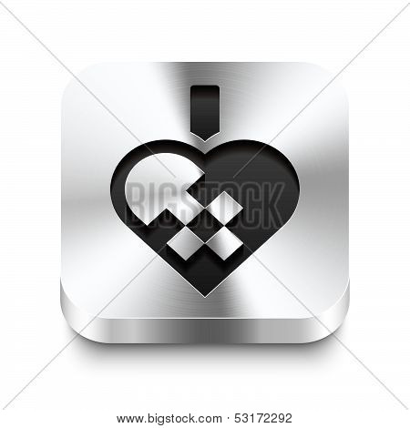 Square Metal Button Perspektive - Braided Christmas Heart Icon