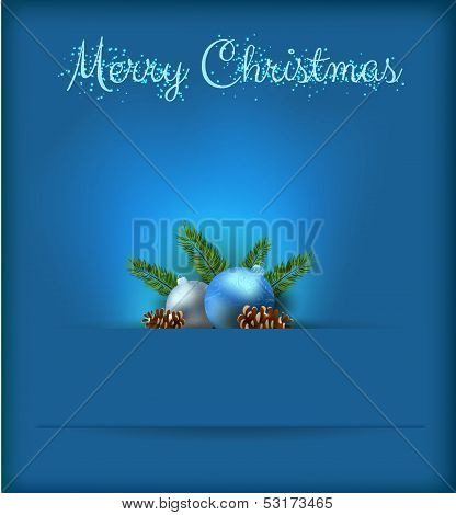 Christmas Card With Blue Baubles