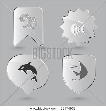 Animal icon set. Fish, Killer whale, wave. Glass buttons.
