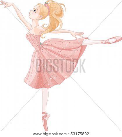 Illustration of cute dancing ballerina