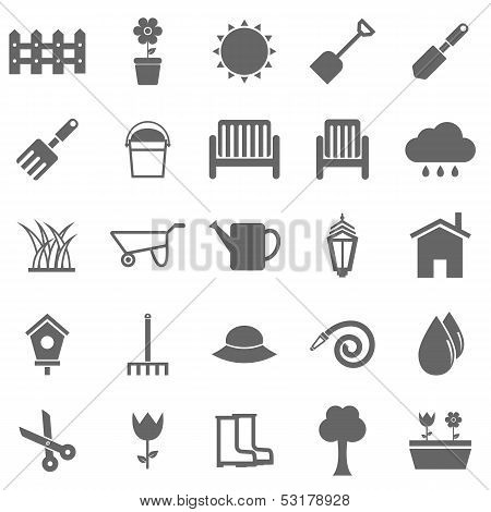 Gardening Icons On White Background
