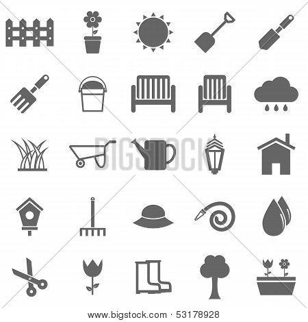 Gardening Icons On White Background