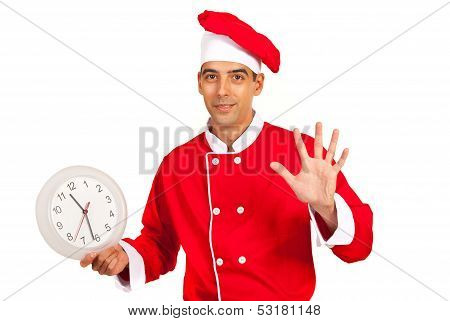 Chef With Clock Gesticulate Five Minutes