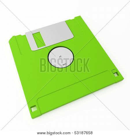 Green Floppy Disk Back Side