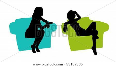 Young Beautiful Woman Seated In The Armchair Silhouettes Set 2