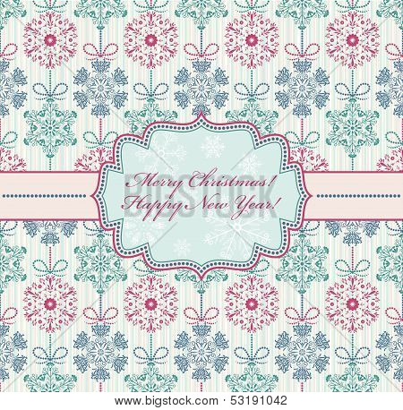 Christmas Card With Abstract Snowflakes