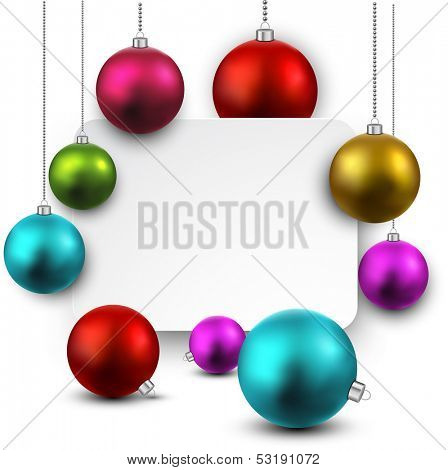 Christmas gift card with colorful decorative balls. Vector illustration.