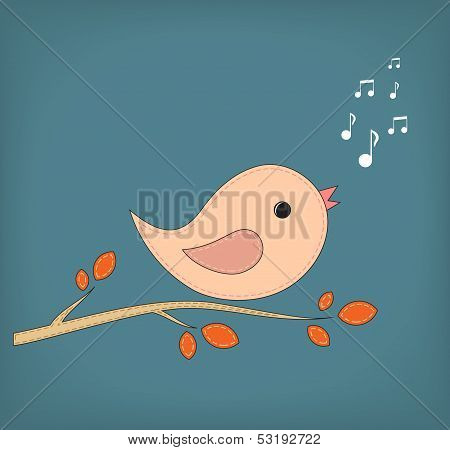 Illustration of funny cartoon bird on branch