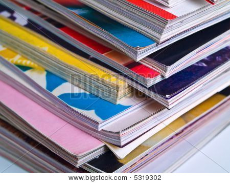 Magazines Unevenly Stacked Edge Focus