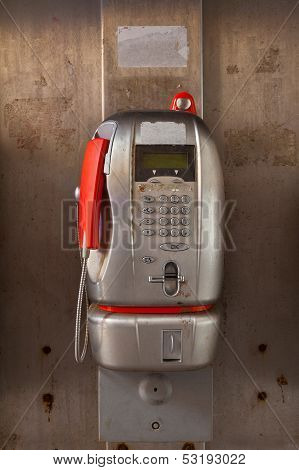 Aluminium Public Telephone With Red Handset