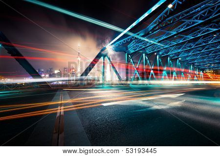 garden bridge, the landmark of shanghai at china. colorful