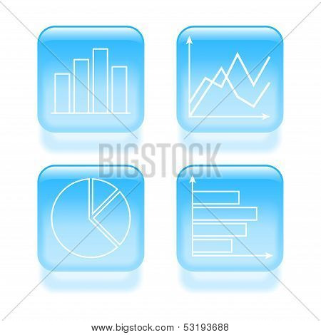 Glassy Diagram Icons. Vector Illustration