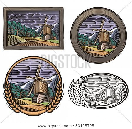 Vector illustration of a windmill, done in retro woodcut style.