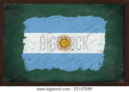 Argentina Flag Painted With Chalk On Blackboard