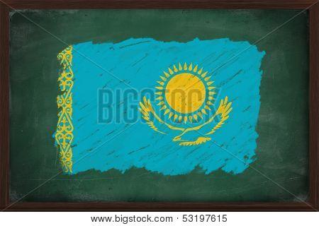 Kazakhstan Flag Painted With Chalk On Blackboard