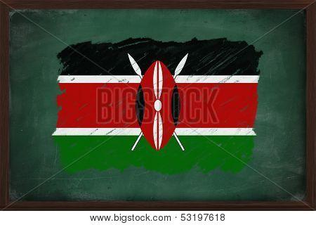 Kenya Flag Painted With Chalk On Blackboard