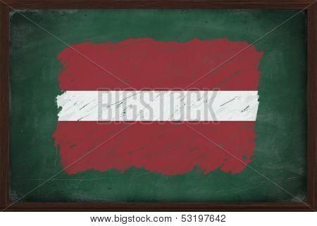 Latvia Flag Painted With Chalk On Blackboard
