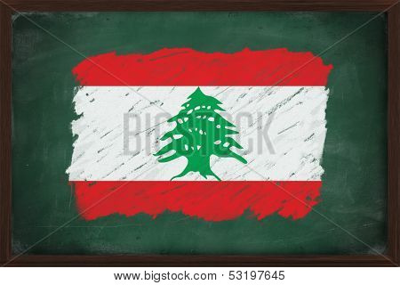 Lebanon Flag Painted With Chalk On Blackboard