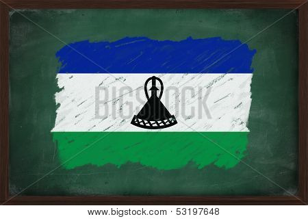 Lesotho Flag Painted With Chalk On Blackboard