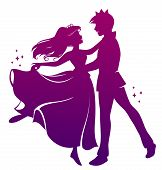picture of waltzing  - silhouette of prince and princess dancing together - JPG