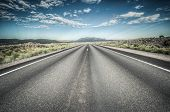 image of arid  - Death valley desert highway goes to natinal park - JPG