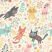 Cute seamless pattern with funny cats in hearts and flowers. Beautiful childish background. Seamless