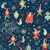 Stylish Merry Christmas seamless pattern with Santa Claus, Elves, birds, candies and toys in vector.