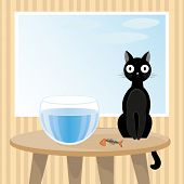 stock photo of misbehaving  - Vector illustration of naughty black cat that ate goldfish from aquarium - JPG