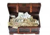 Full Of Money Wooden Chest