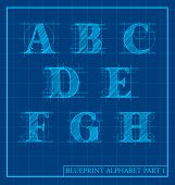 foto of initials  - vector blueprint style font alphabet set 1 - JPG