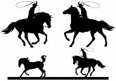 stock photo of lasso  - cowboy horsemen fine vector silhouettes  - JPG