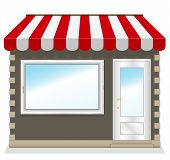 stock photo of awning  - Cute shop icon with red awnings - JPG