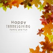 stock photo of thanksgiving  - Happy Thanksgiving Day background with beautiful autumn maple leaves - JPG
