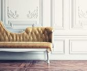 stock photo of carving  - Beautiful vintage sofa next to wall   - JPG
