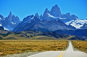 stock photo of snow capped mountains  - Famous rock Fitz Roy peaks in the Andes - JPG