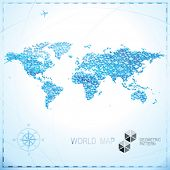 pic of parallelepiped  - Geometric pixel shape World map background - JPG