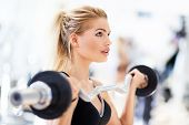 pic of lifting weight  - Woman in gym lifting weights - JPG