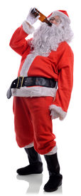 picture of chug  - Bad santa drunk drinking out of beer bottle isolated on a white background - JPG