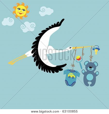 Stork  Flying With Items For Newborn Baby Boy